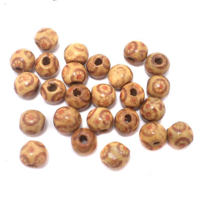 185+ Printed Wooden Round Beads 9mm