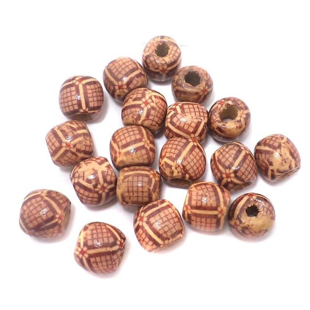 100 Pcs. Printed Wooden Tyre Beads 12x11mm