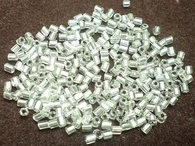 2 Cut Glass Seed Beads Silver Line White (100 Gm), Size 11/0 (2 )