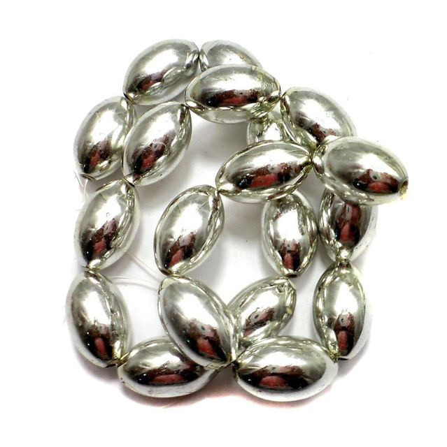 5 Strings Metallic CC Oval Beads Silver 20x12mm