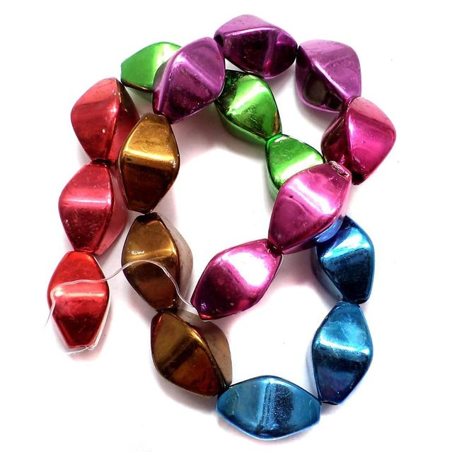 5 Strings Metallic CC Diamond Beads Assorted 16x10 mm