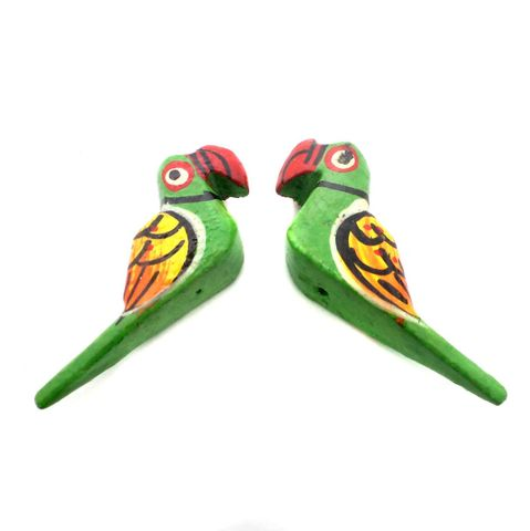 25 Pcs. Wooden Parrot Beads Green 2.5x1.5 Inch