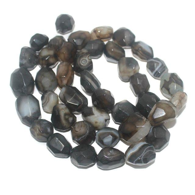 Tumbled Faceted Black Onyx Stone Beads 28-19 mm