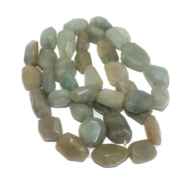 Tumbled Faceted Light Green Ave Stone Beads 28-19 mm