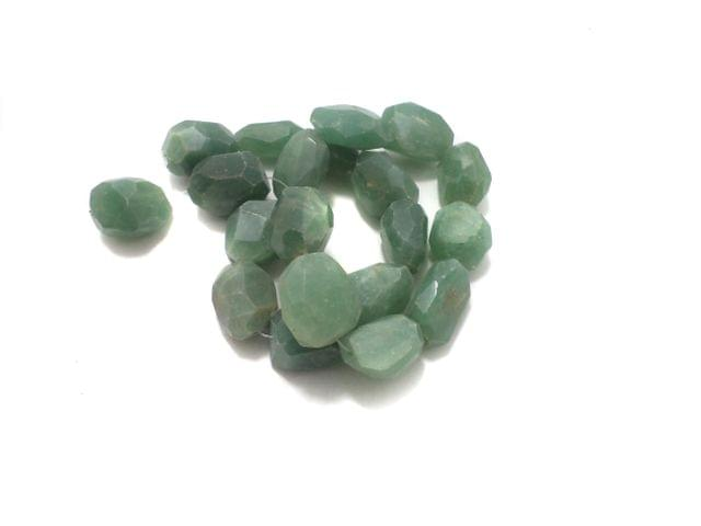 1 String Tumbled Faceted Green Onyx Stone Beads 28-19 mm