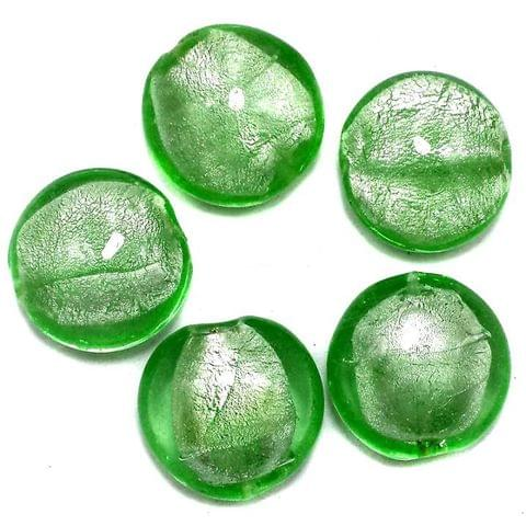35+ Silver Foil Dome Beads Light Green 20 mm