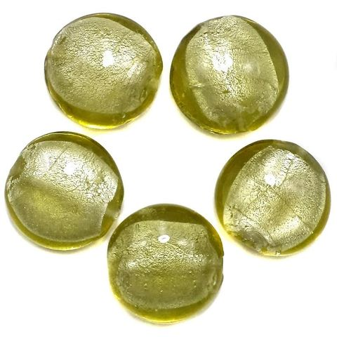 35+ Silver Foil Dome Beads Olive Green 20 mm