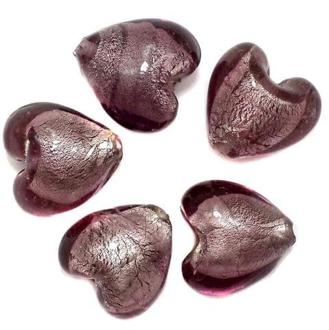 40+ Silver Foil Heart Beads Purple 18 mm