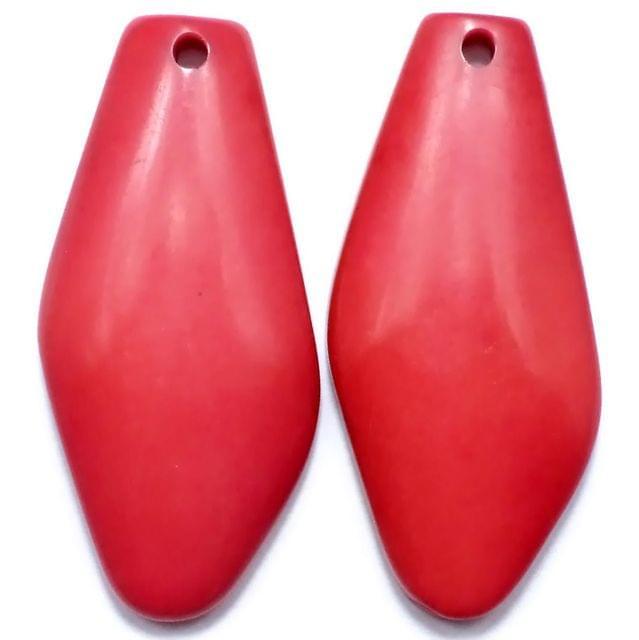 10 Resin Tilak Pendants Red 62x30mm