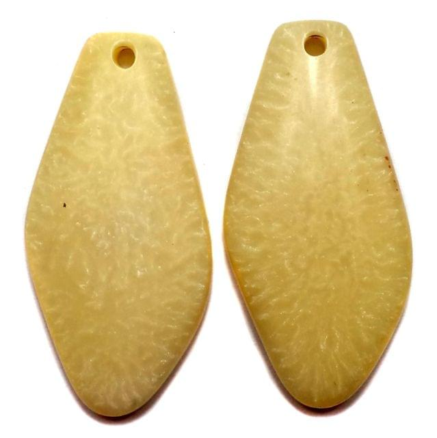 10 Resin Tilak Pendants Cream 62x30mm