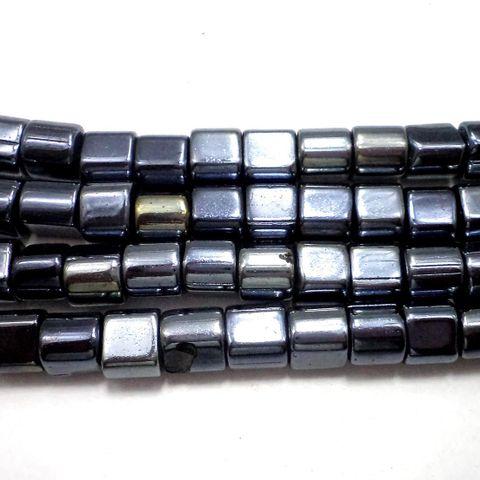 5 Strings Gun Metal Tube Beads 8 mm