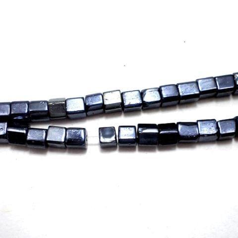 5 Strings Gun Metal Cube Beads 4 mm