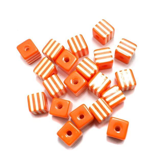 50 Acrylic Polymer Beads Cube Orange 9 mm