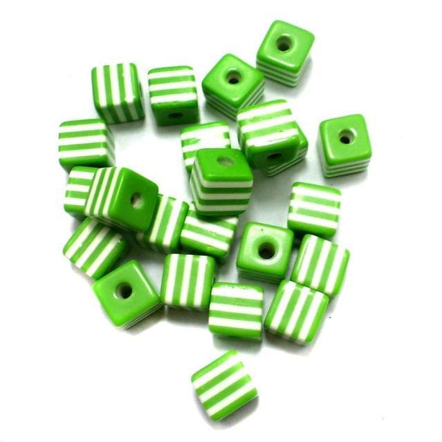 50 Acrylic Polymer Beads Cube Peridot 9 mm