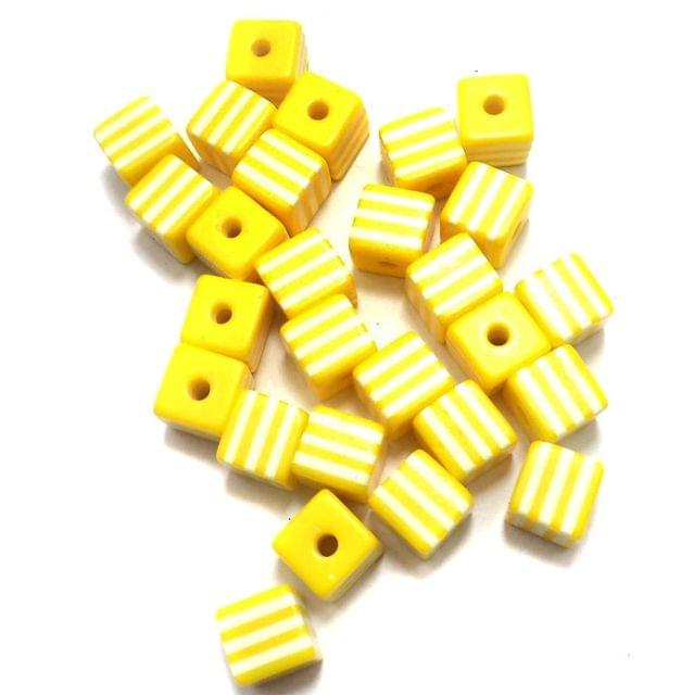 50 Acrylic Polymer Beads Cube Yellow 9 mm