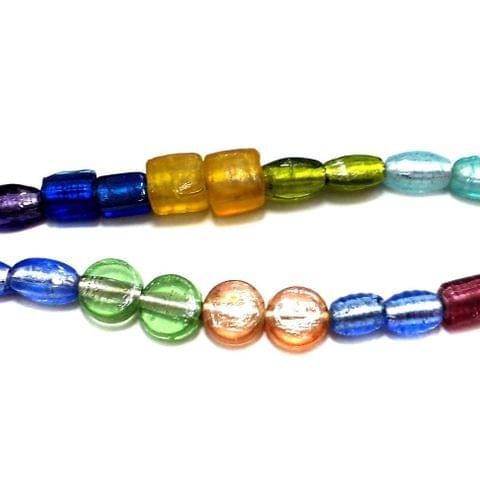 5 Strings Silver Foil Beads Assorted 12-20mm