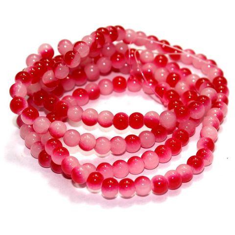 5 String Glass Round Beads Red 6mm