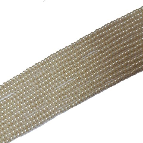 2.5mm, Glass Pearl Cream String For Jewellery Making, 290+ Beads In Each Line, 5 Lines