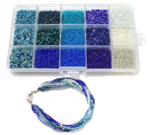 Jewellery Making DIY Seed Beads Ice Blue Collection Kit[15 Colors]