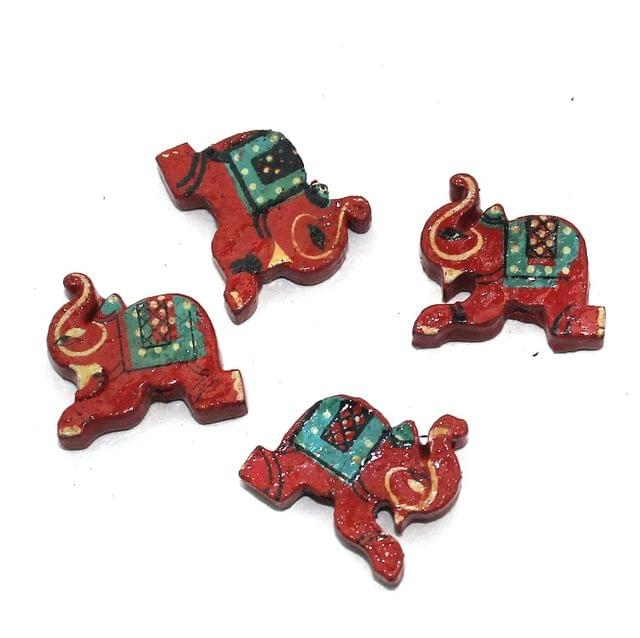 50 Pcs. Wooden Elephant Beads Red 0.85x0.75 Inch
