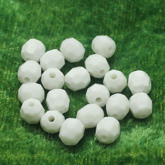 100 Gm Acrylic Football Beads White 10x8 mm