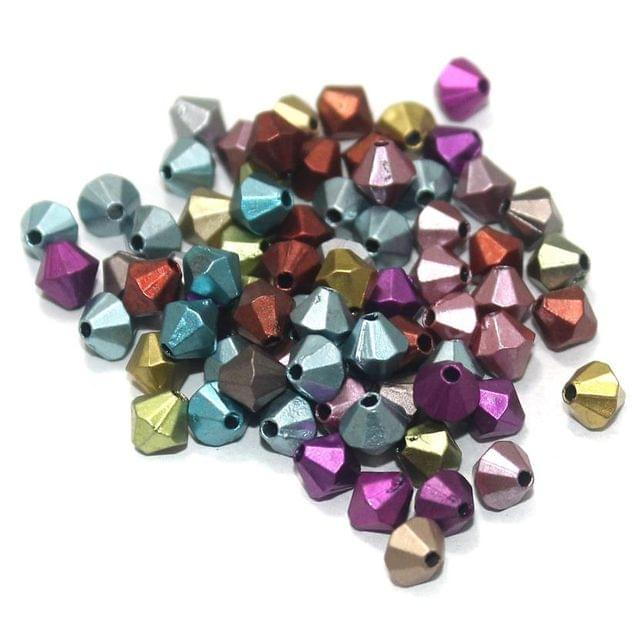 100 Gm Acrylic Bicone Beads Multi Color 6 mm