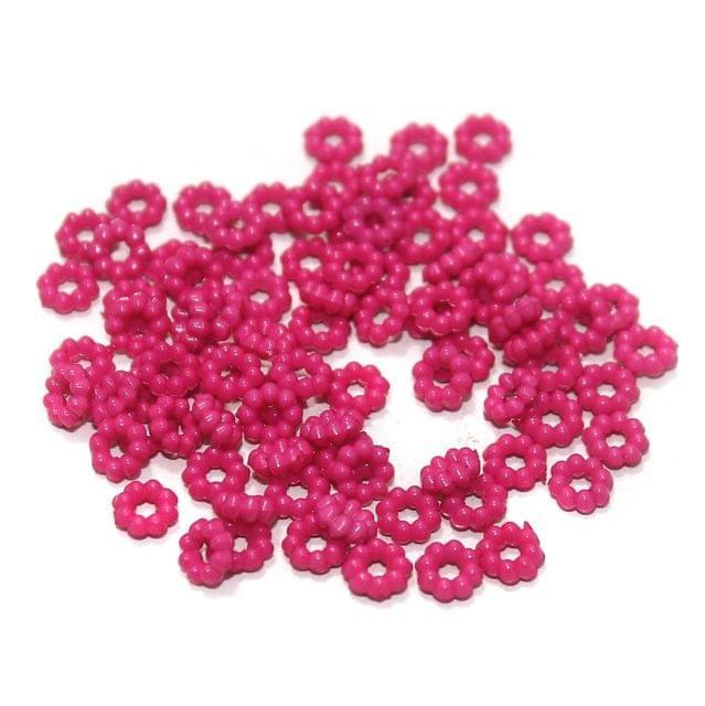 100 Gm Acrylic Chakri Beads Hot Pink 6 mm