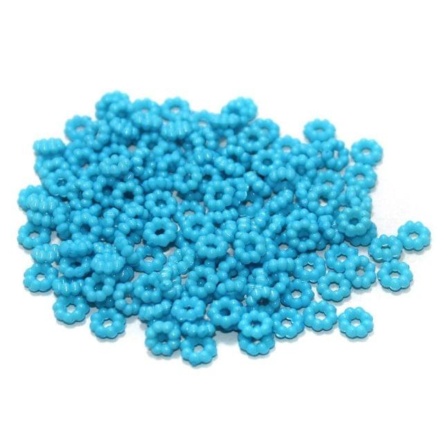 100 Gm Acrylic Chakri Beads Sky Blue 6 mm