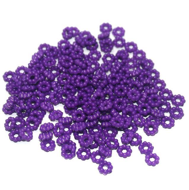 100 Gm Acrylic Chakri Beads Purple 6 mm