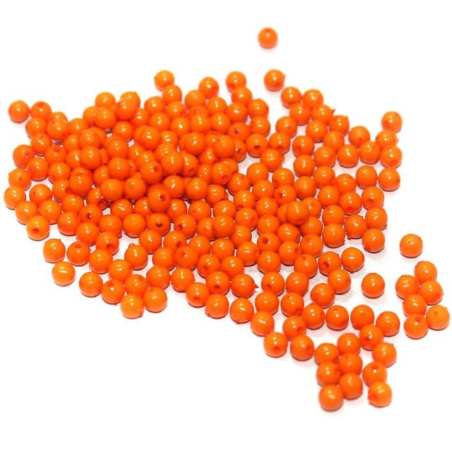 100 Gm Acrylic Round Beads Orange 4 mm