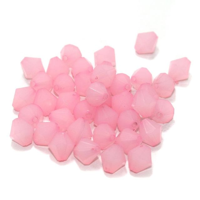 100 Gm Acrylic Crystal Faceted Bicone Beads Pink 10 mm