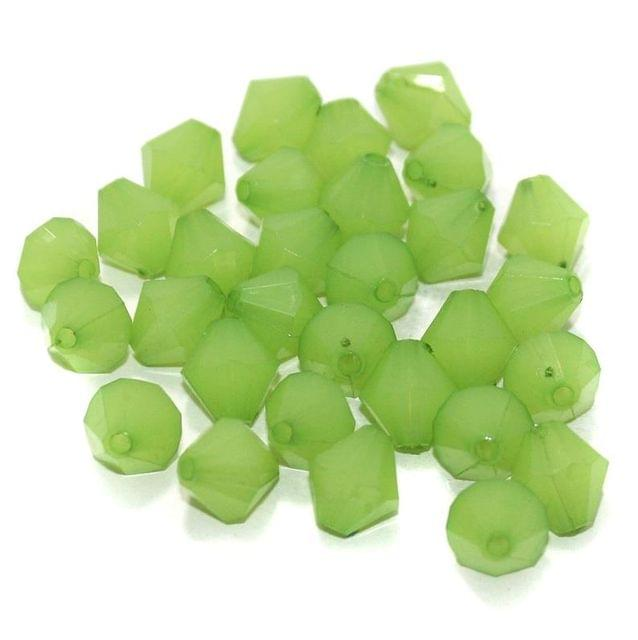 100 Gm Acrylic Crystal Faceted Bicone Beads Green 10 mm