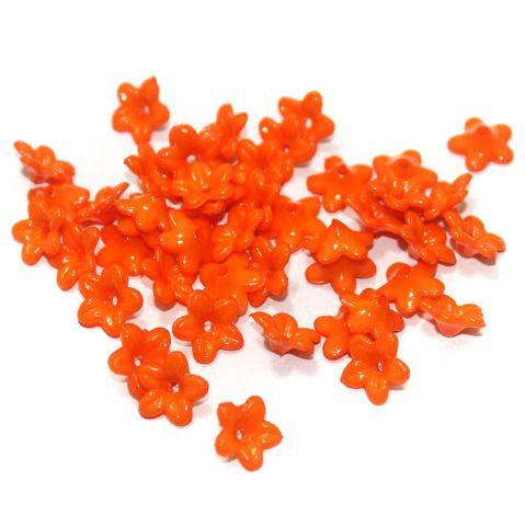 100 Gm Acrylic Flower Beads Orange 9x4 mm
