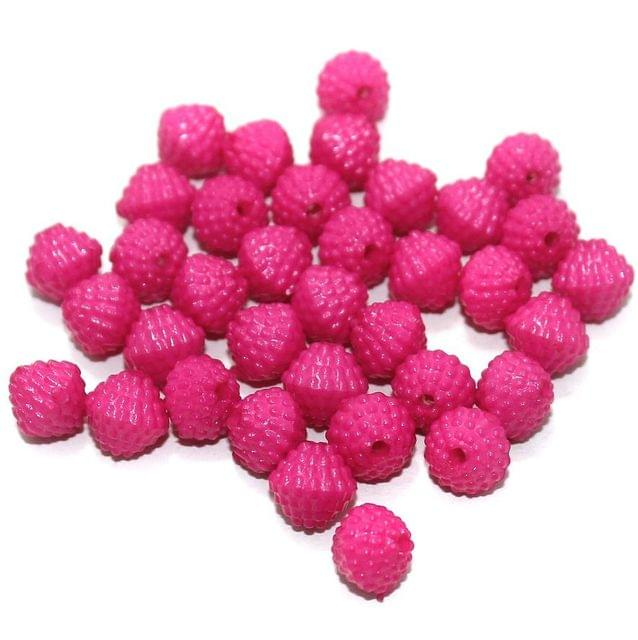 100 Gm Acrylic Rondelle Beads Hot Pink 8 mm