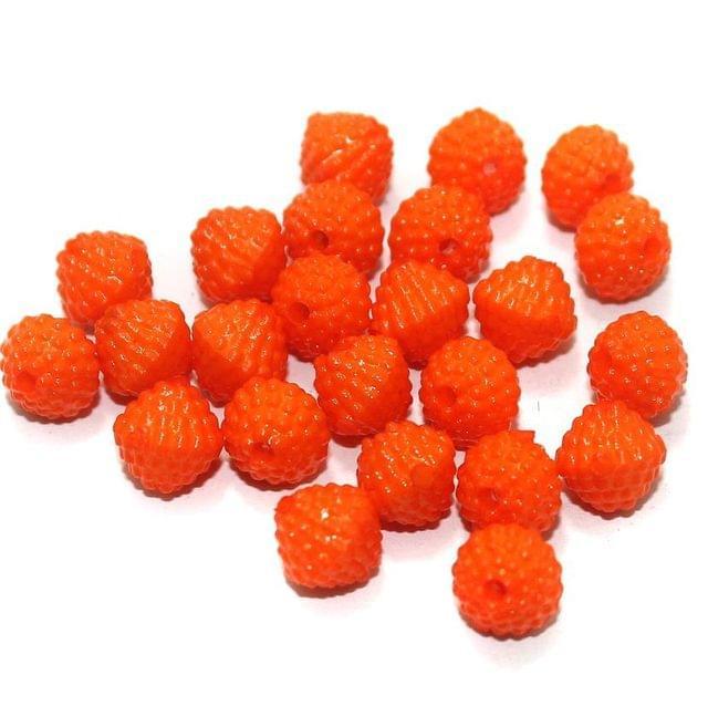 100 Gm Acrylic Rondelle Beads Orange 8 mm