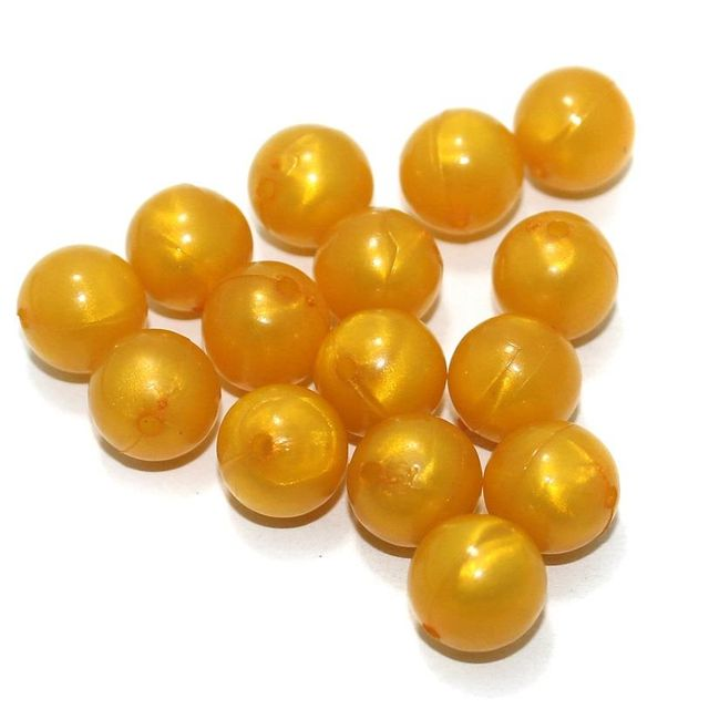 100 Gm Acrylic Round Beads Orange 12 mm