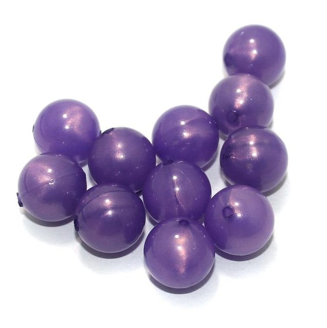 100 Gm Acrylic Round Beads Purple 12 mm