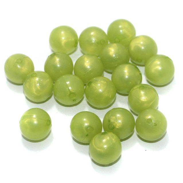 100 Gm Acrylic Round Beads Peridot 12 mm