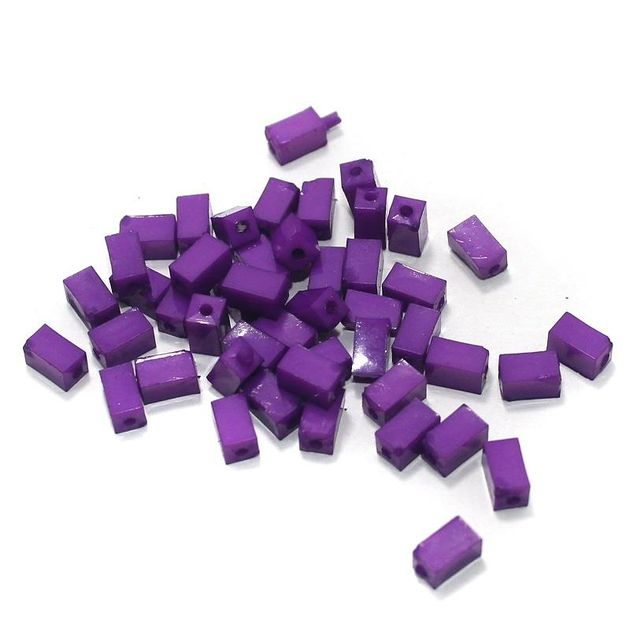 100 Gm Acrylic Rectangle Beads Purple 7x4 mm