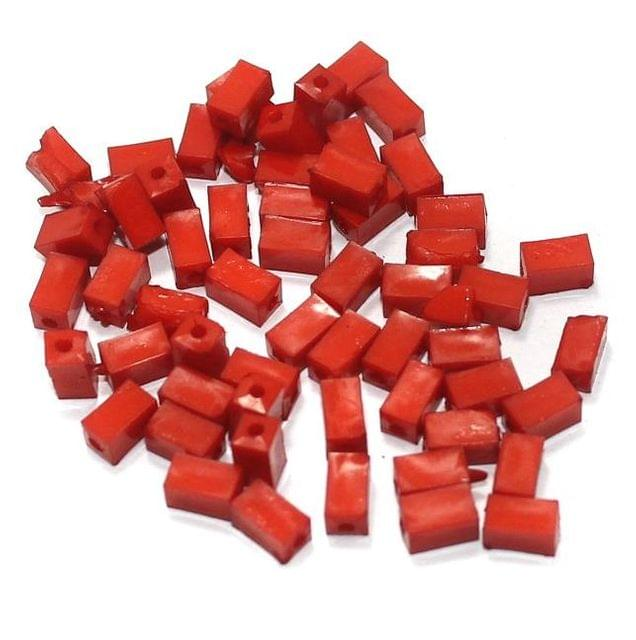 100 Gm Acrylic Rectangle Beads Red 7x4 mm