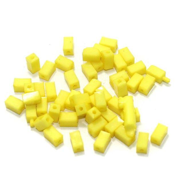 100 Gm Acrylic Rectangle Beads Yellow 7x4 mm