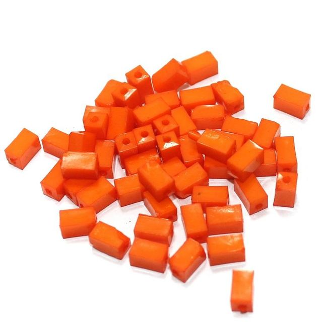 100 Gm Acrylic Rectangle Beads Orange 7x4 mm