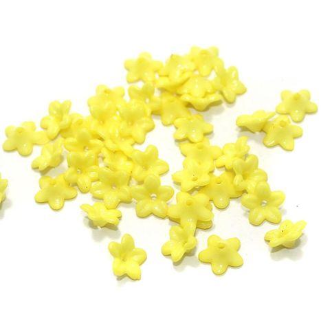 100 Gm Acrylic Flower Beads Yellow 9x4 mm