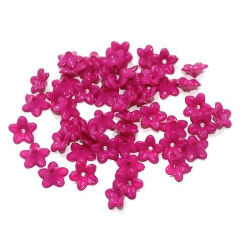 100 Gm Acrylic Flower Beads Hot Pink 9x4 mm