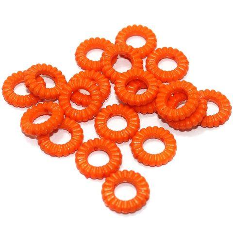 100 Gm Acrylic Ring Beads Orange 17x4 mm