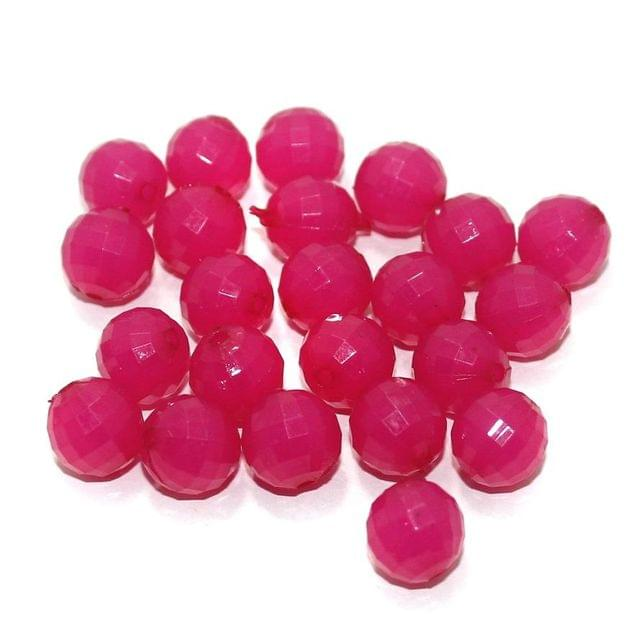 100 Gm Acrylic Crystal Faceted Round Beads Hot Pink 11 mm