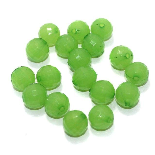 100 Gm Acrylic Crystal Faceted Round Beads Light Green 11 mm