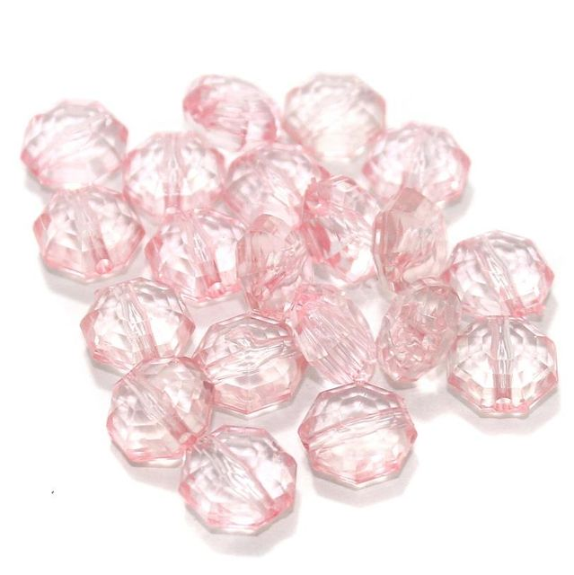 100 Gm Acrylic Crystal Faceted Octagon Beads Trans Pink 13x7 mm