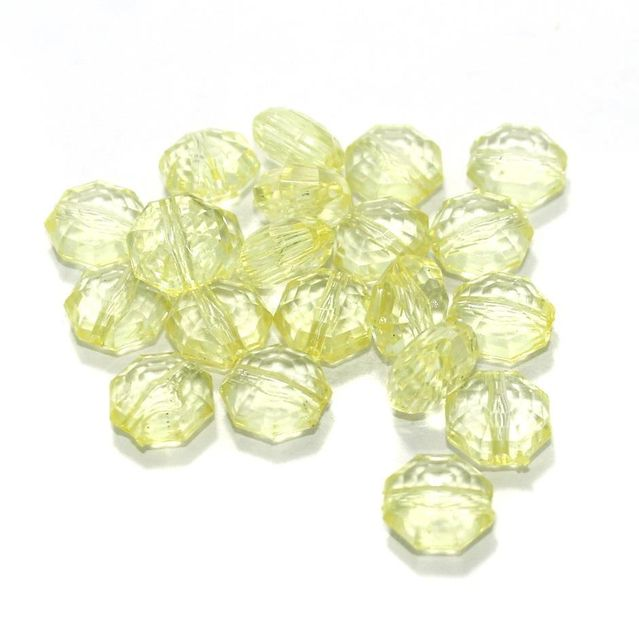 100 Gm Acrylic Crystal Faceted Octagon Beads Trans Light Yellow 13x7 mm