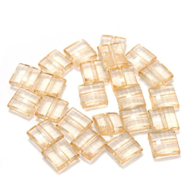 100 Gm Acrylic Crystal Faceted Flat Square Center Drill Beads Trans Orange 10x5 mm